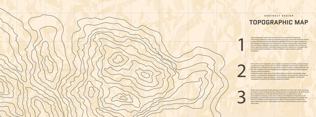Topographic map abstract background with infographic elements. Old outline cartography landscape. Topographic relief map modern cover design with wavy lines. Vector card with weather outline pattern.