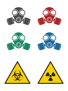 gas mask  with warning sign
