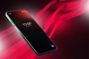 Fototapeta Black and red background with smartphone. Smartphone with the time and date on the screen. Red winding lines and a mobile phone. Neon background of electronic gadgets. 3d image. obraz