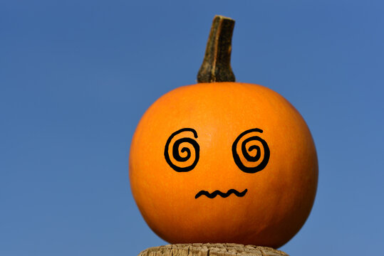 a small orange pumpkin against a blue sky makes a confused face