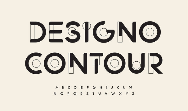 Geometric drawn font cutting edge letters outline art contour alphabet. Minimalistic futuristic typographic for modern architecture logo, abstract monogram, hud scifi text, techno space lettering
