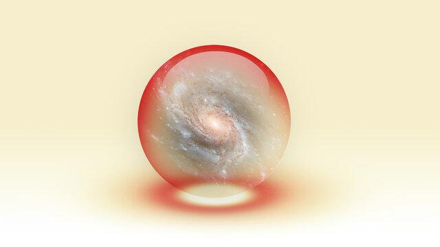 Galaxy Inside Bubble