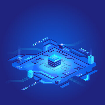 Futuristic circuit board. Data transmission technology. Concept big data processing center, cloud database, server energy station future. Synchronizing personal information. Abstract finance data