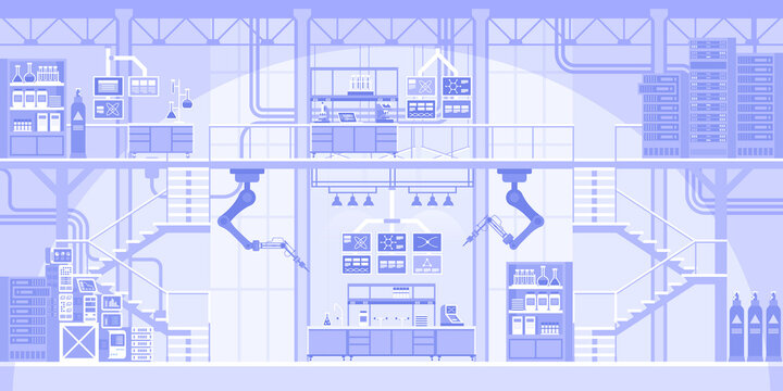 Automated scientific laboratory horizontal background. Robotic arms making tests on equipment. Innovation scientific research with robots machinery. Abstract industrial panorama. Vector illustration