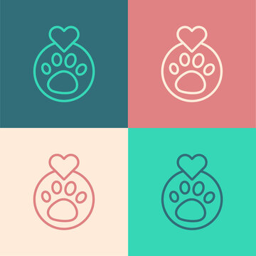 Pop art line Heart with animals footprint icon isolated on color background. Pet paw in heart. Love to the animals. Vector