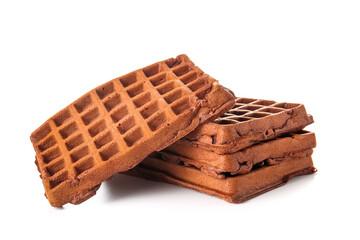 Obraz Delicious Chocolate Belgian Waffles on white background - fototapety do salonu