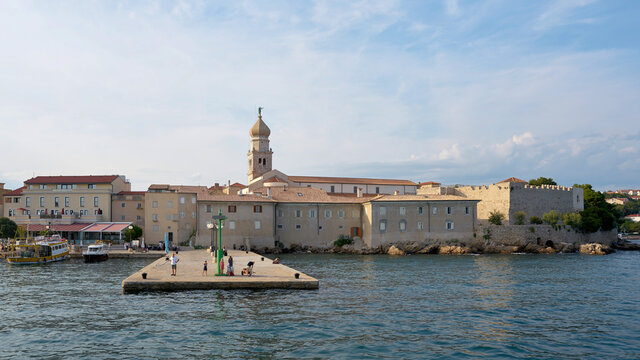View of historical town Krk on the Adriatic Sea in Croatia from the sea