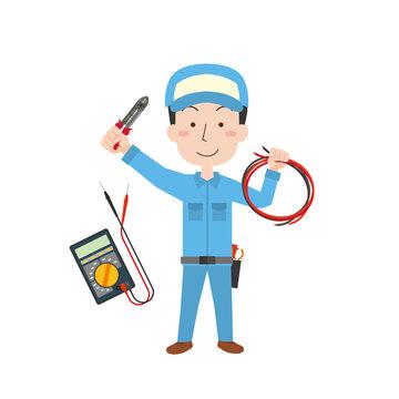 電気の工事をする作業者