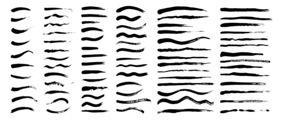 Fototapeta Vector set of grunge artistic brush strokes, brushes. Creative design elements. Long, short, edged black lines. obraz