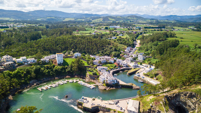aerial view of puerto de vega coastal town, Spain