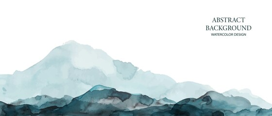 Fototapeta Mountains, hills abstract panorama. Blue, grey watercolor wash. Modern minimal abstract background. Landscape painting. obraz