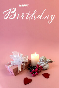 postcard , Internet banner , flat lay with a birthday greeting, with the inscription - happy birthday