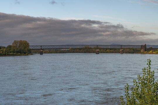 View from Engers at the railway bridge in Urmitz, Rhineland-Palatine, Germany