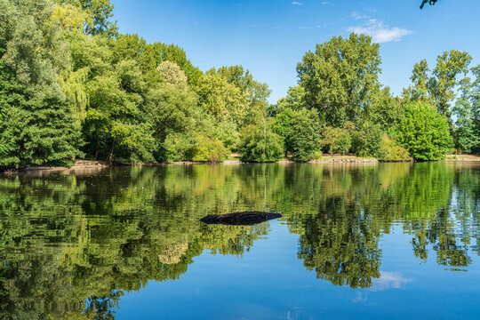 View over the pond of the park in Sterkrade, Oberhausen, North Rhine-Westfalia, Germany