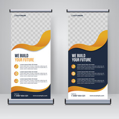 Fototapeta Corporate rollup or X banner design template  obraz