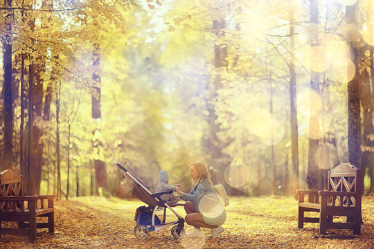 mom with a stroller in the autumn park for a walk, landscape autumn view october alley yellow park