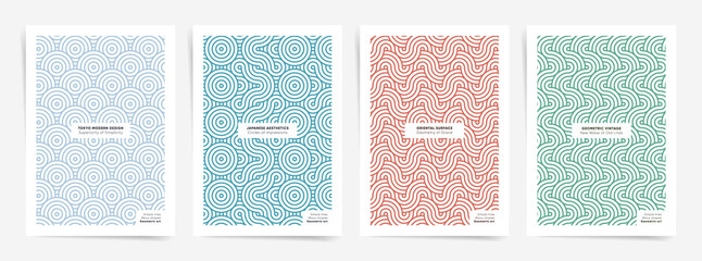 Fototapeta Linear ornaments poster cover set set. Vector A4 vertical orientation. Design for book cover, poster, banner, placard, brochure, annual report, card, flyer. Vector japanese motifs for modern decor. obraz