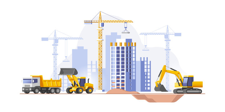 Construction site, building a house. Real estate business. Vector illustration.