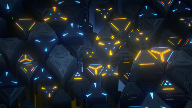 Array of triangles with blue and orange lights 3D rendering