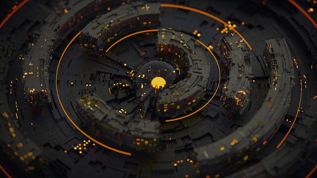 Black rotating circle elements 3D rendering illustration