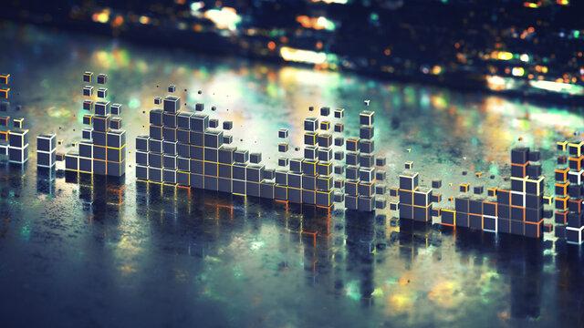 Futuristic music volume meter graph 3D rendering illustration