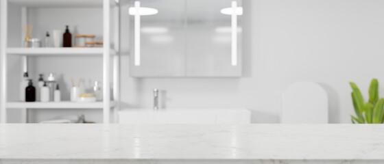 Fototapeta White minimalist empty marble tabletop for montage over modern bright bathroom interior obraz