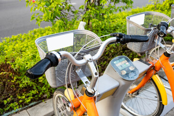 Smart shared bikes in modern cities.Intelligent public bicycle in modern city.