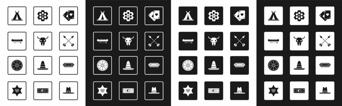 Set Playing cards, Buffalo skull, Kayak or canoe and paddle, Indian teepee wigwam, Crossed arrows, Revolver cylinder, Harmonica and Old wooden wheel icon. Vector
