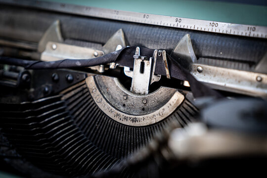 Abstract typewriter background with metal part and elements of retro typewriter