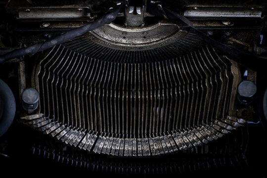 old typewriter type bars keys, mechanical background