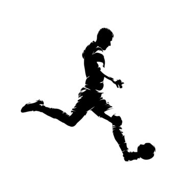 Soccer player running and kicking ball, isolated vector silhouette, side view. Footballer ink drawing, striker