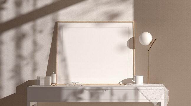 Blank wood a3 horizontal frame mockup interior background