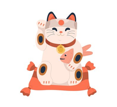 Maneki-neko toy with Japanese carp in paw. Asian beckoning lucky cat with koi fish. Cute doll for luck and fortune. Retro figurine from Japan. Flat vector illustration isolated on white background