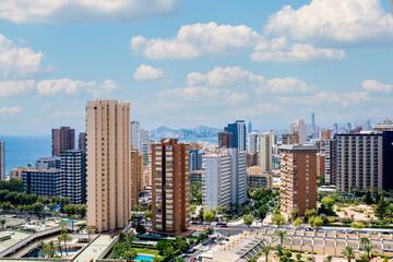 Cityscape with skyscrapers near sea