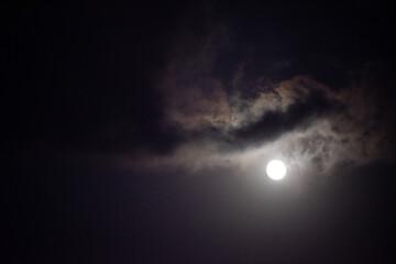 Fototapeta Moon shining in dark night sky obraz