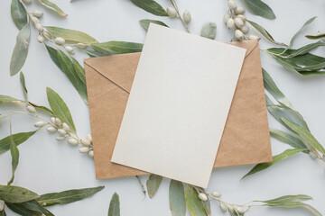 Fototapeta invitation card mockup with branch of Elaeagnus argentea. rabbitberry. silverberry.  obraz