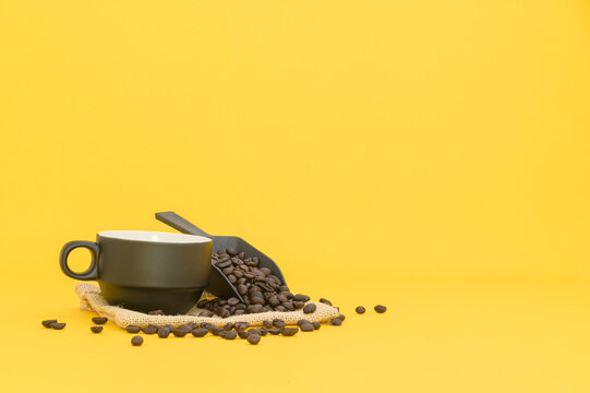 Coffee mugs and coffee beans, energy drinks