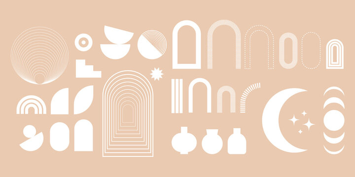 Set of abstract geometric shapes in boho style. Vector elements for modern design.