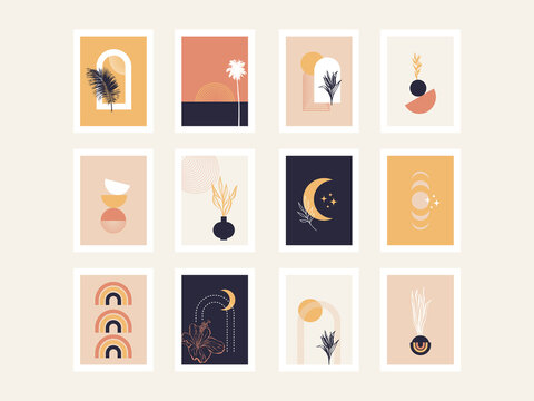 Collection of abstract posters with geometric shapes and tropical hand drawn elements. Boho minimalist backgrounds. Modern simple design.