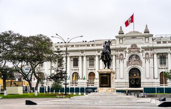 The Legislative Palace of Peru with a statue of Simon Bolivar in Lima