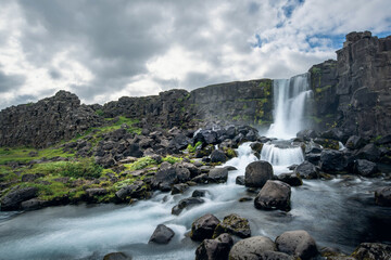 Oxarafoss waterfall in Thingvellir National Park, Iceland