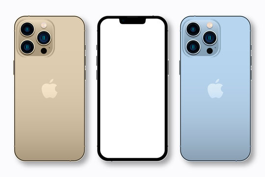 Apple iPhone 13 pro/pro max - newly released iphone in Sierra Blue and Gold colors. Realistic smartphone mockup. Template of UI and UX device for web site and presentation. Vector illustration.