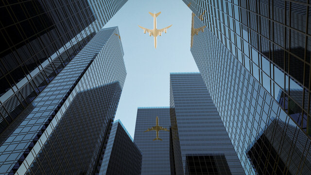 3D rendering glass buildings with air plane on blue sky background.