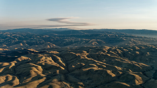 Ohlone regional wilderness and de valle regional park near Livermore, seen from a plane. San Francisco bay area. USA