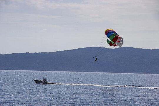 Para sailing off the coast in Adriatic sea, Croatia