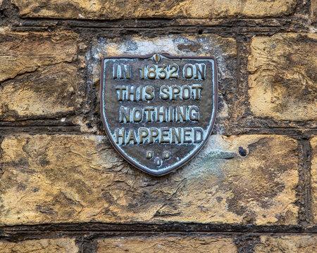 Funny Plaque in Saffron Walden, Essex