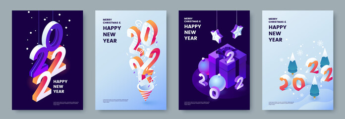 Fototapeta Happy New Year 2022 posters collection in isometric style. Greeting card template with isometric graphics and typography. Creative concept for banner, flyer, cover, social media. Vector illustration. obraz