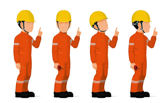 set of worker is pointing to something on white background