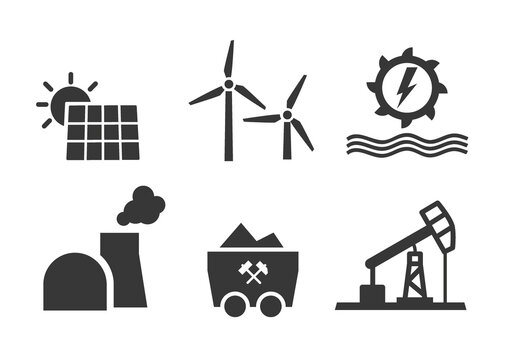 Energie - Solar Windkraft Wasserkraft Kohle Atomkraft Erdöl - Vektor Illustration