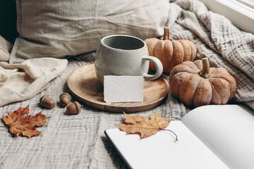 Fototapeta Cozy autumn morning breakfast still life. Cup of hot coffee, tea son wooden plate near window. Blank business card mockup. Fall, Thanksgiving concept. Orange pumpkins, acorns and maple leaves. obraz